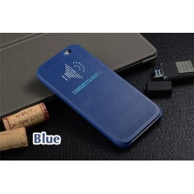 Etui Bleu Motif Point Dot View HTC M8