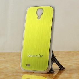 Pour Samsung Galaxy S4 Cache Batterie Alu Brossé Blanc-Doré