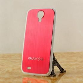 Pour Samsung Galaxy S4 Cache Batterie Alu Brossé Blanc-Rouge