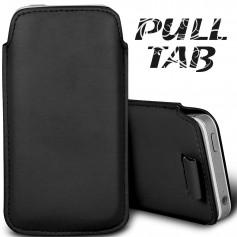 Pour Apple iPhone 5-5S-5C Noir Housse Étui Languette Pull-Up