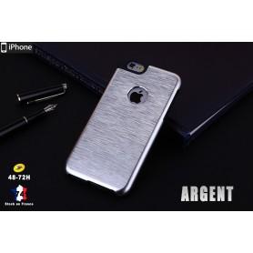 Coque Métallique en Aluminium Brossé Argent iphone 6S 6 Cadre Silicone Tpu