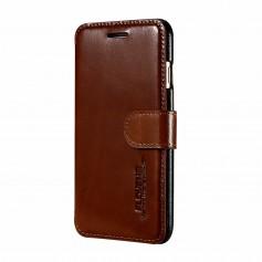 Pour iPhone 7 FLOVEME Étui Porte-feuille BRUN Cuir Véritable Business Détenteurs de cartes