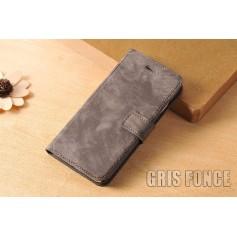 Housse Etui Flip Cover Cuir Velours Véritable Gris Fonce Apple iPhone 7 Luxe
