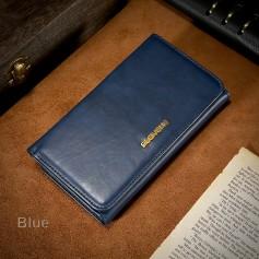 FLOVEME Étui Cuir Véritable BLEU NUIT Porte-feuille Combiné Magnétique iPhone 8 Business Détenteurs de cartes