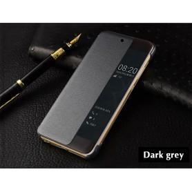 Pour Huawei P20 LITE Etui à rabat GRIS FONCE Smart Flip Cover Clear View