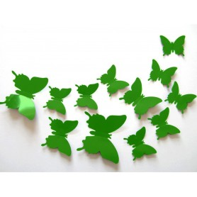 12 Pièces 3D Stickers Papillon Vert Citron Décoration Maison Butterfly 3d