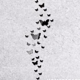 30 Pièces 3D Acrylique Stickers Papillon Noir Miroir Décoration Maison Butterfly 3d