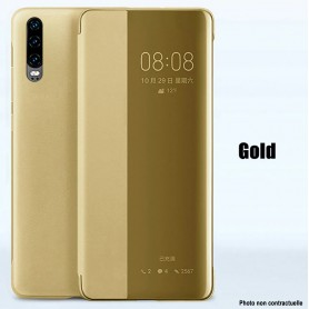 Pour Huawei P30 Etui à rabat DORE GOLD Smart Flip Cover Clear View