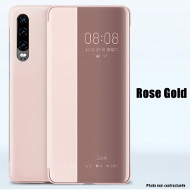 Pour Huawei P30 Etui à rabat ROSE GOLD Smart Flip Cover Clear View