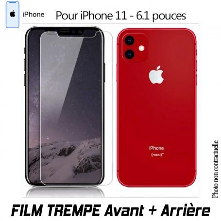 Vitre de Protection Verre en Trempe Avant et Arrière pour iPhone 11 XI