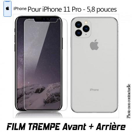 Vitre de Protection Verre en Trempe Avant et Arrière pour iPhone 11 PRO XI PRO