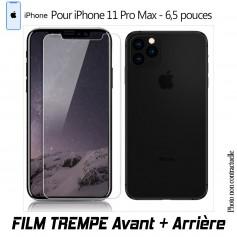 Verre en Trempe Avant et Arrière pour iPhone 11 XI PRO MAX