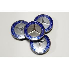 4x Logo Jante Mercedes Cache Moyeu Centre De Roue Bleu 75mm Emblème