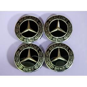 4x Logo Jante Mercedes Benz Noir Argent 75mm Cache Moyeu Centre De Roue Emblème