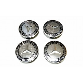 4x Logo Jante Mercedes Benz Argent 75mm Cache Moyeu Centre De Roue Emblème