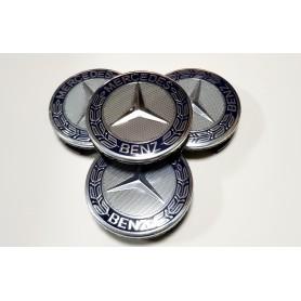 4x Logo Jante Mercedes Benz Bleu Nuit 75mm Cache Moyeu Centre De Roue Emblème