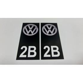 2x Stickers Plaque d'immatriculations 2B Volkswagen 100X45 mm Promo Ref78