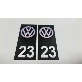 2x Stickers Plaque d'immatriculations 23 Volkswagen 100X45 mm Promo Ref80