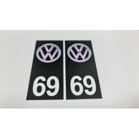 2x Stickers Plaque d'immatriculations 69 Volkswagen 100X45 mm Promo Ref81