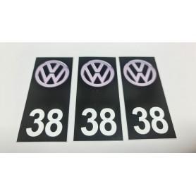 3x Stickers Plaque d'immatriculations 59 Volkswagen Promo Ref83