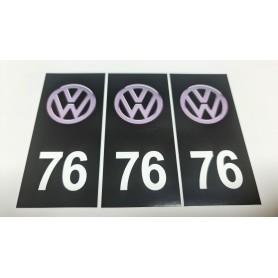 3x Stickers Plaque d'immatriculations 76 Volkswagen Promo Ref84
