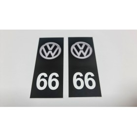 2x Stickers Plaque d'immatriculations 66 Volkswagen Promo Ref85