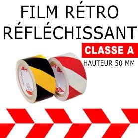 Adhésif Film rétro réfléchissant alterné Rouge-Blanc 500 cm