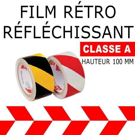 Adhésif Film rétro réfléchissant alterné Rouge-Blanc