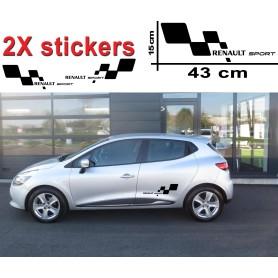 """Stickers """"Renault Sport 2"""" Noir 43X15 cm Prix PROMO"""
