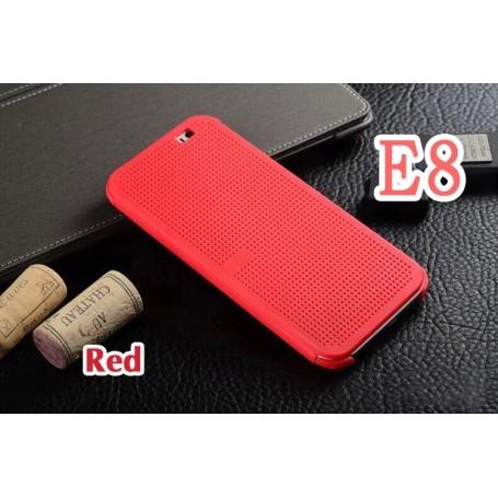 Motif Point Dot View Pour HTC E8 Rouge