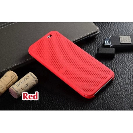 Etui Rouge Motif Point Dot View HTC M8