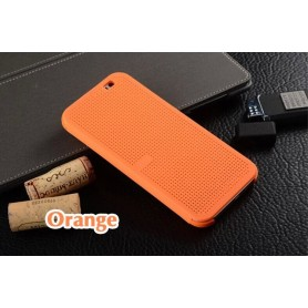 Etui Orange Motif Point Dot View HTC M8