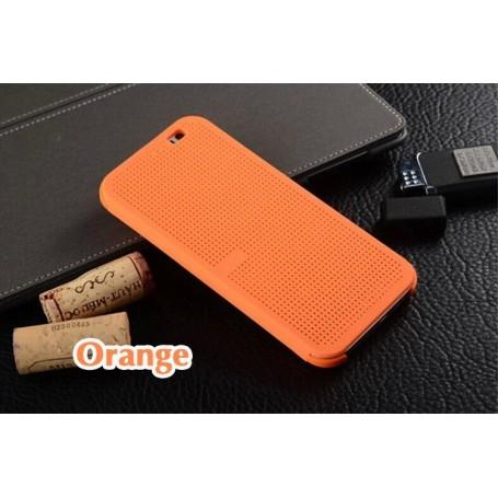 Etui Orange Motif Point Dot View HTC M8
