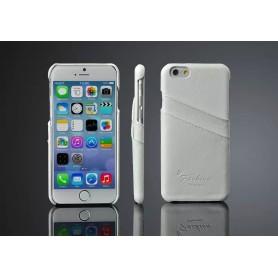 Etui Cuir Véritable Litchi Motif Blanc Phone 6