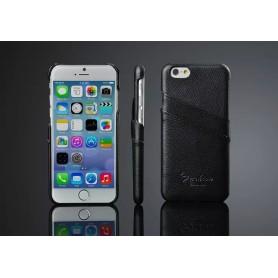 Etui Cuir Véritable Litchi Motif Noir Phone 6