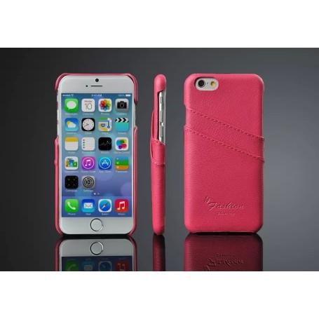 Housse Etui Coques Cuir Véritable Litchi Motif Rosé Pour iPhone 6