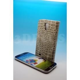 Etui Portefeuille Crocodile Motif Samsung Galaxy S4 Gris