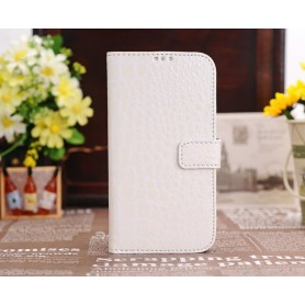 Etui Portefeuille Crocodile Motif Samsung Galaxy S4 Blanc