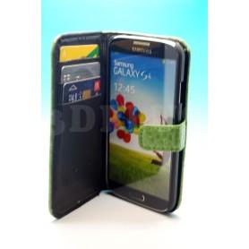 Etui Portefeuille Crocodile Motif Samsung Galaxy S4 Vert