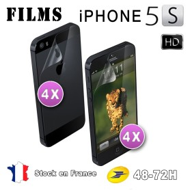 8X HD Film Protection Brillant Iphone 5-5S 4Av 4Ar