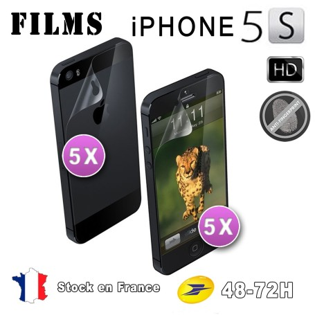 10X HD Film Protection Brillant Iphone 5-5S 4Av 4Ar