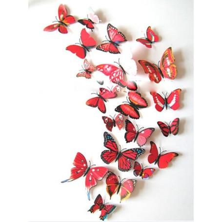 12 Pièces 3D Stickers Papillon Rouge Coloré Décoration Maison Butterfly 3d