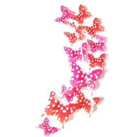 Stickers 3D 12 Pièces Papillon Orange Points Décoration Maison Butterfly 3d