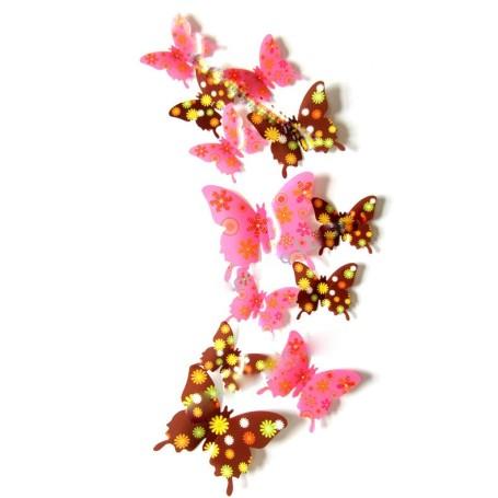 12 Pièces 3D Stickers Papillon Fleurs Décoration Maison Butterfly 3d