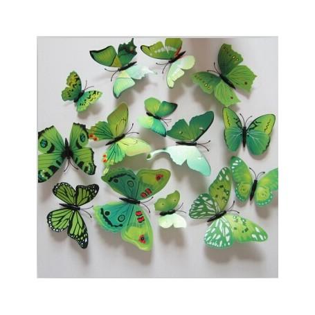 12 Pièces 3D Stickers Papillon Vert Décoration Maison Butterfly 3d