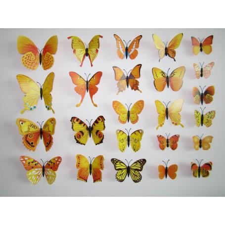 12 Pièces 3D Stickers Papillon Jaune Type 2 Décoration Maison Butterfly 3d