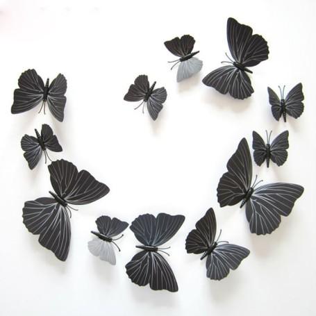 12 Pièces 3D Stickers Papillon Noir Type 2 Décoration Maison Butterfly 3d