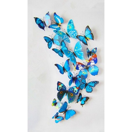 12 Pièces 3D Stickers Papillon Bleu Type 2 Décoration Maison Butterfly 3d