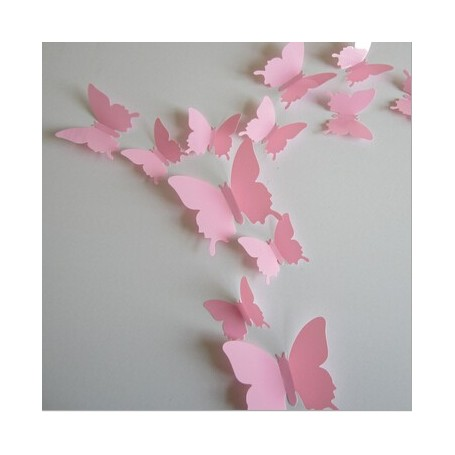 12 Pièces 3D Stickers Papillon ROSE 3 Points Décoration Maison Butterfly 3d