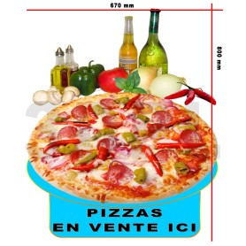 "Stickers ""Pizza En Vente Ici"" 800X670 mm Restaurant Kebab Pizza Snack"